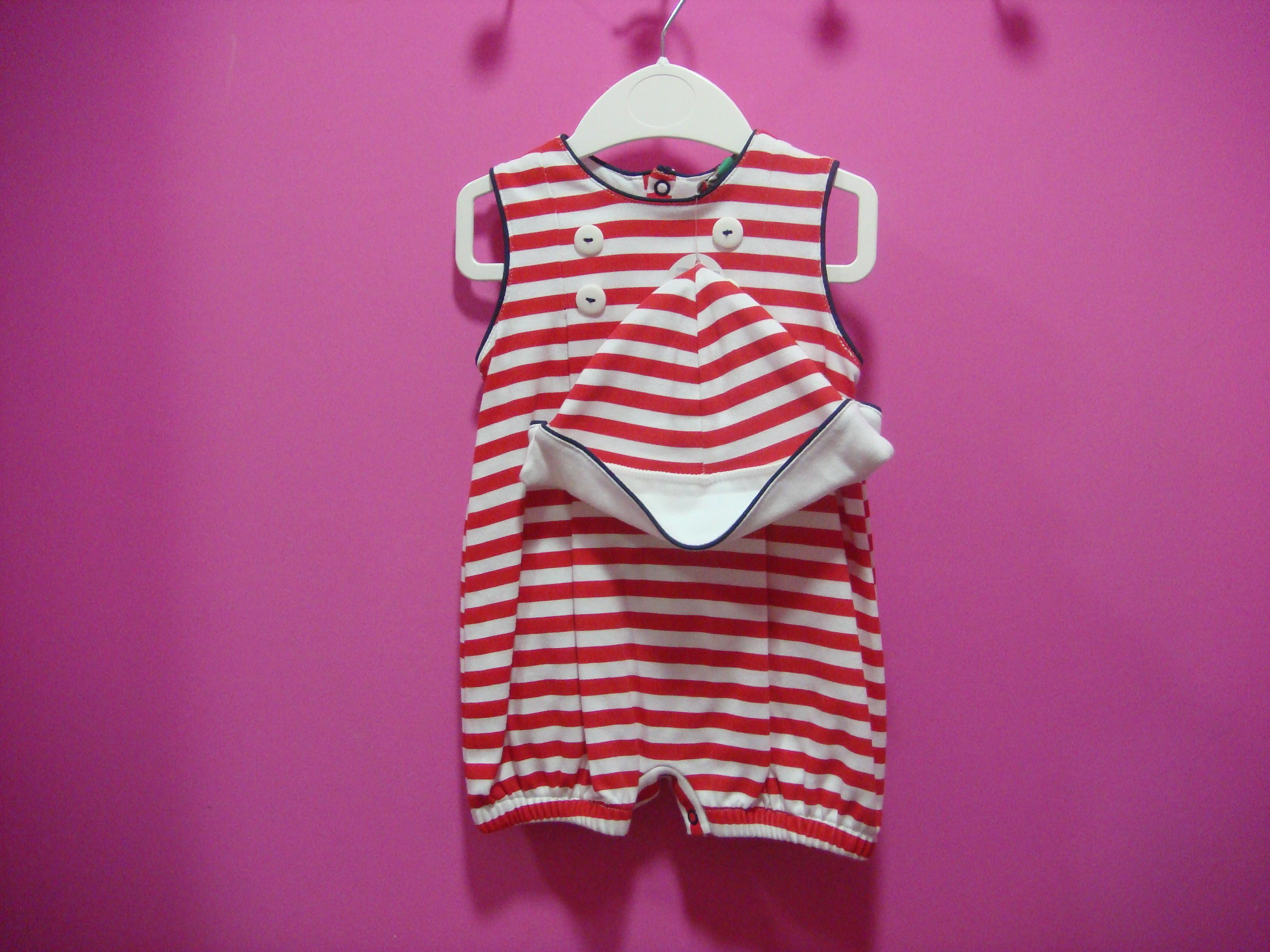 Pelele bebe rayas rojas y blancas